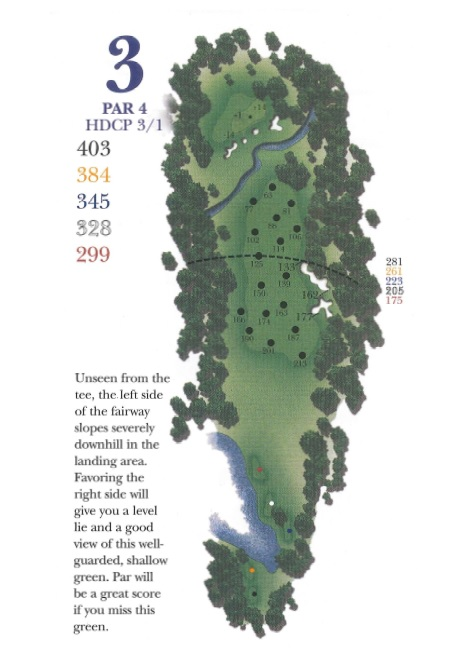 Yardage picture of hole 3