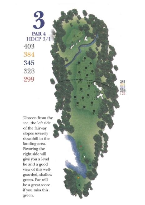 Yardage picture of hole 3