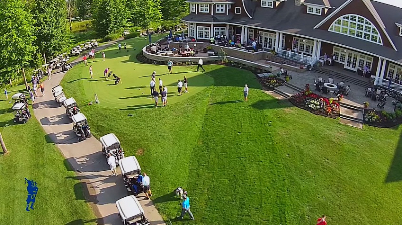 overhead photo of back of clubhouse