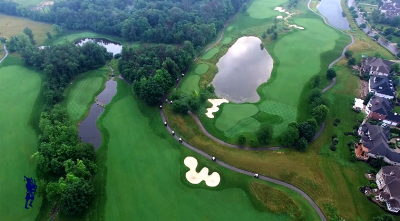 drone aerial picture of golf course