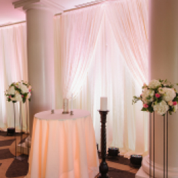 ceremony area with pipe and drape