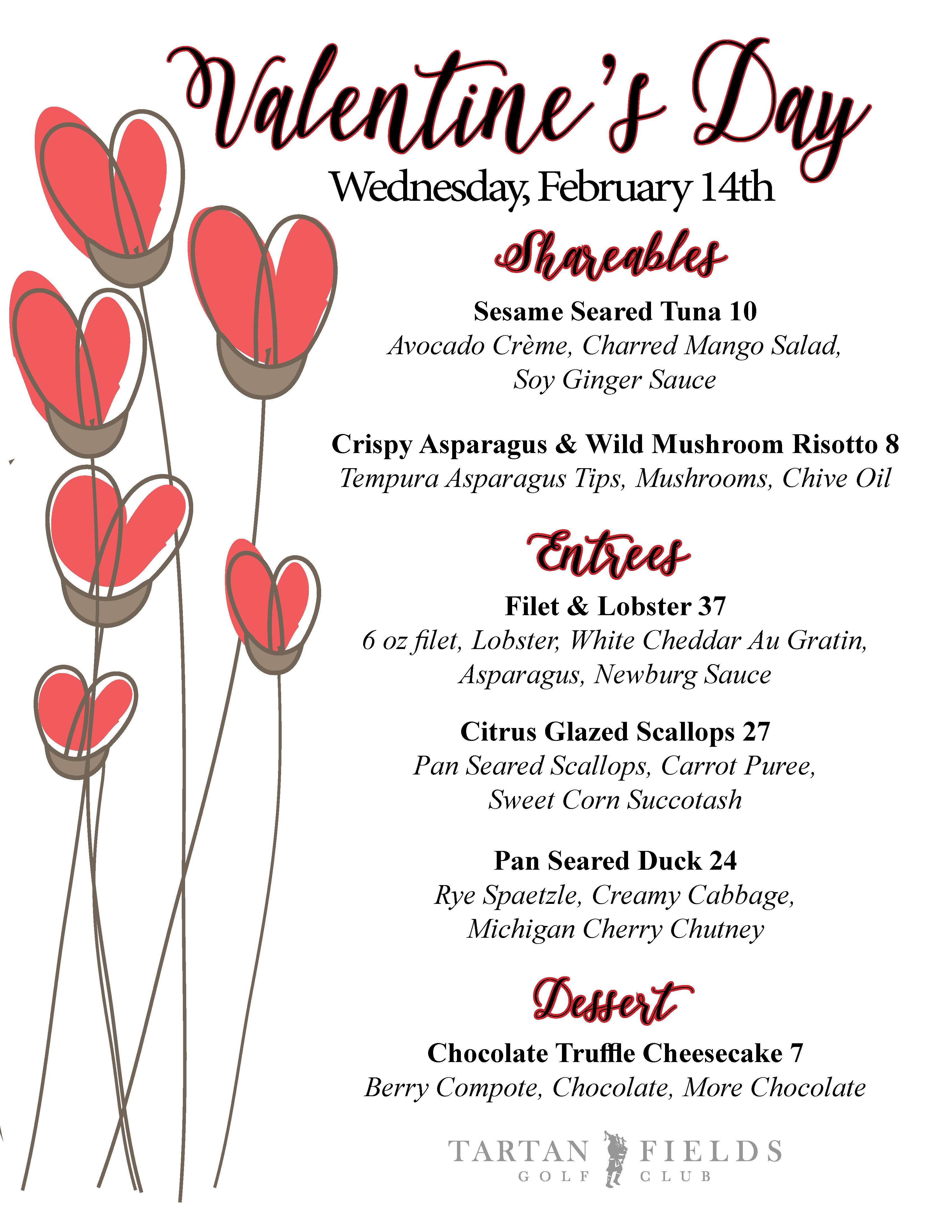 Valentine S Day Dinner The Club At Tartan Fields 2018 02 14